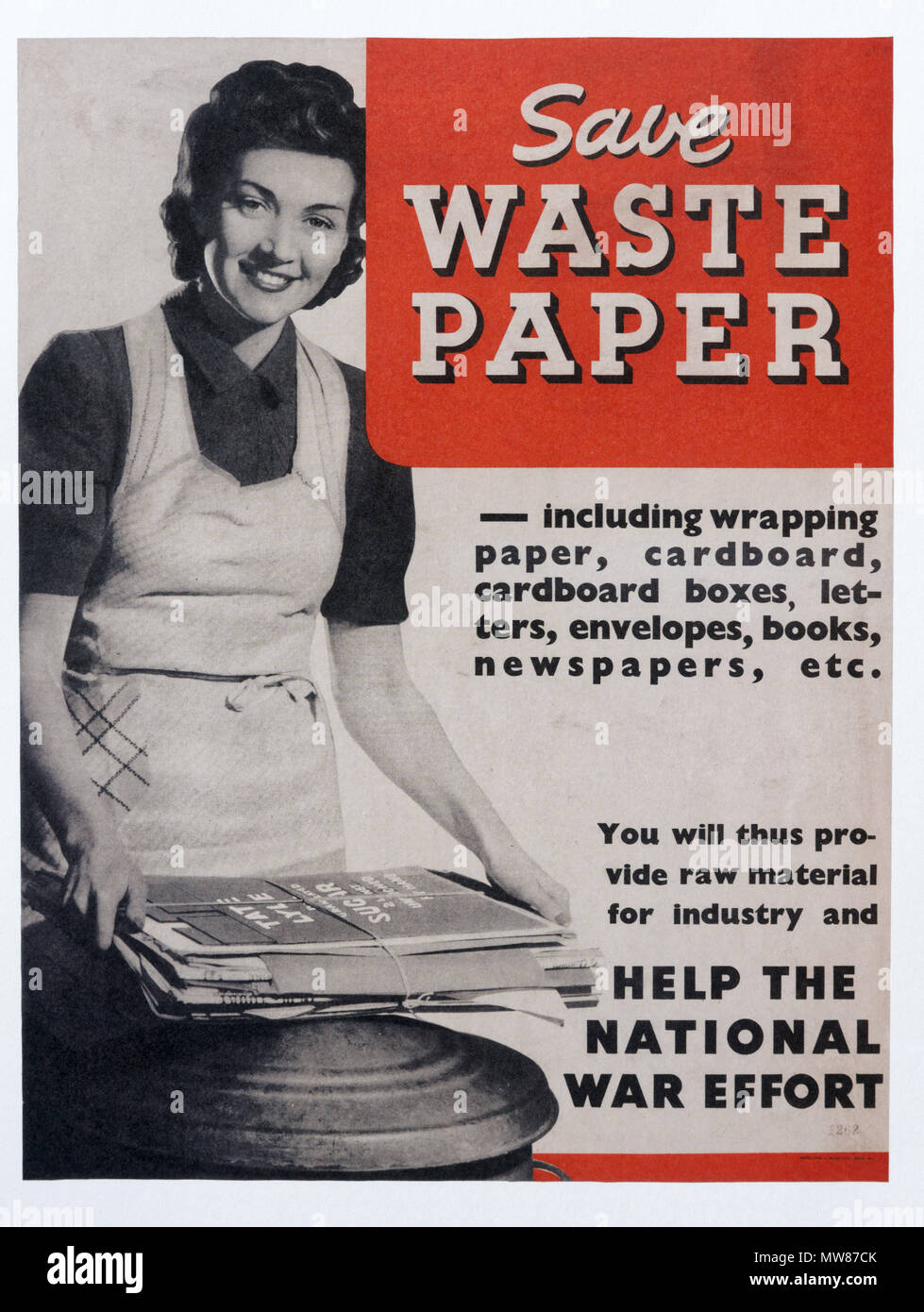 A Second World War poster promoting the salvage, and recycling of waste paper  -  Save Waste Paper - Stock Image