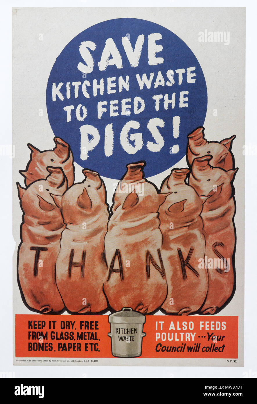 A second world war poster encouraging people to save waste food to feed pigs - SAve Kitchen Waste to Feed the Pigs - Stock Image
