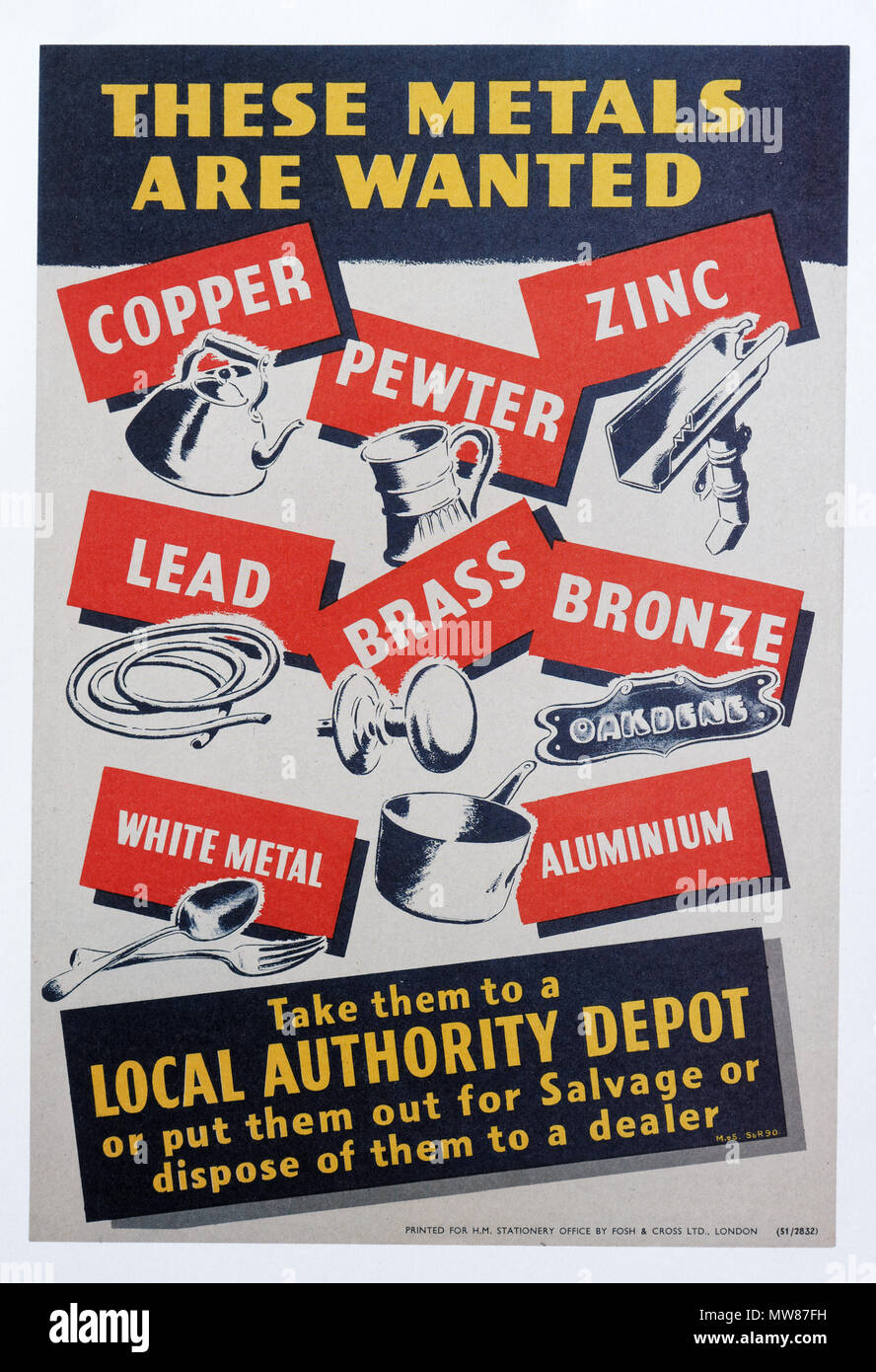 A second world war poster encouraging people to donate scrap metal to help the war effort - These Metals Are Wanted - Stock Image