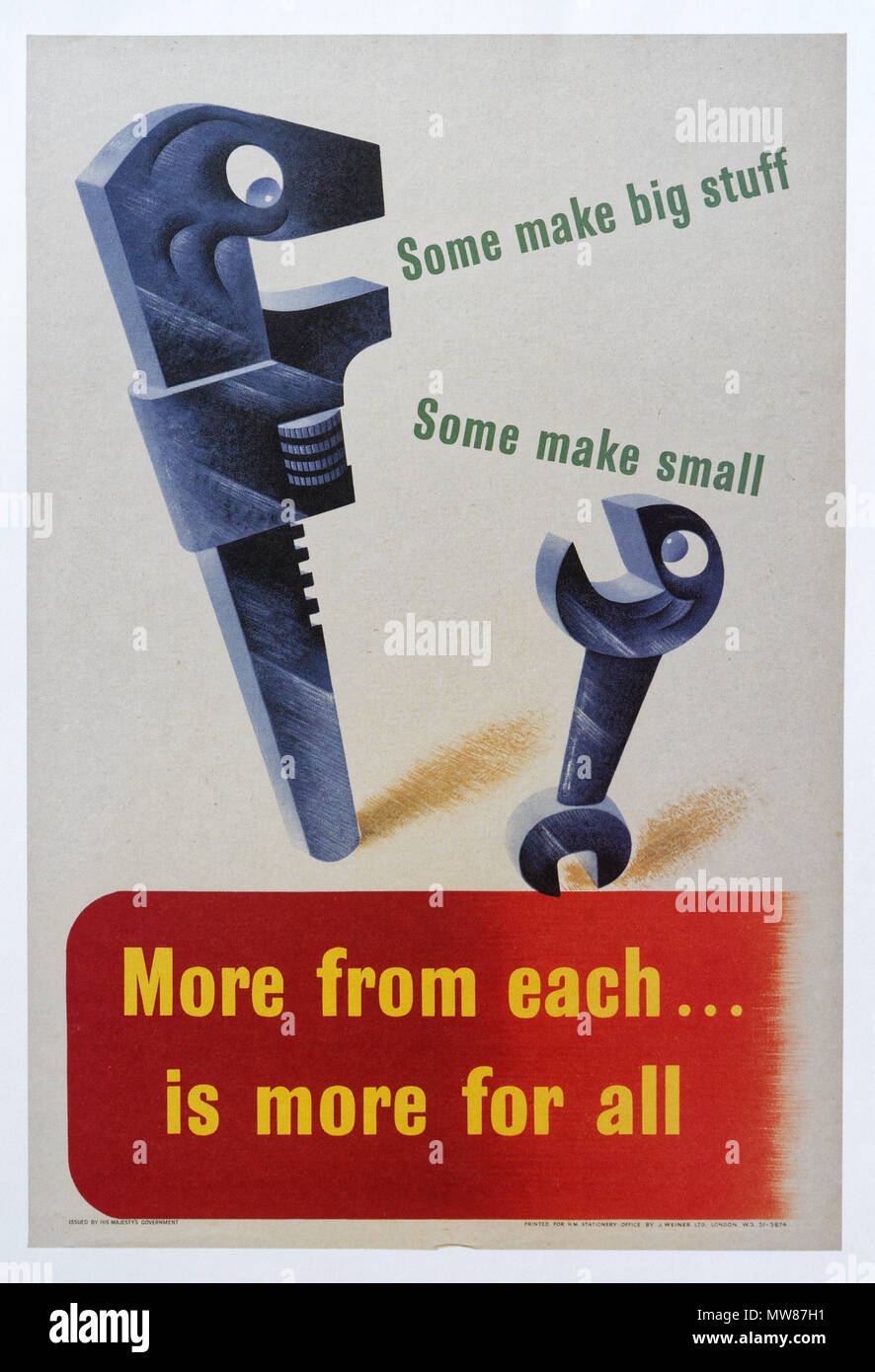 A second world war poster encouraging people to donate scrap metal to help the war effort - More From Each is More For All - Stock Image