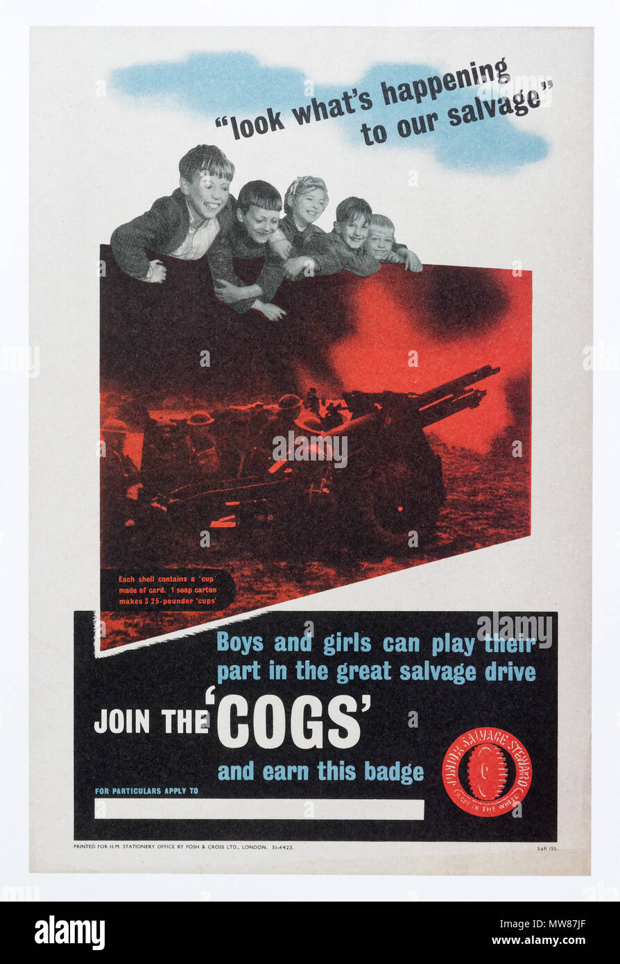 A Second World War poster for the COGS childrens salvage oraginsation - Stock Image