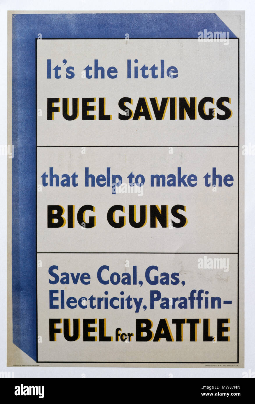 A Second World War poster encouraging people to save fuel - Stock Image
