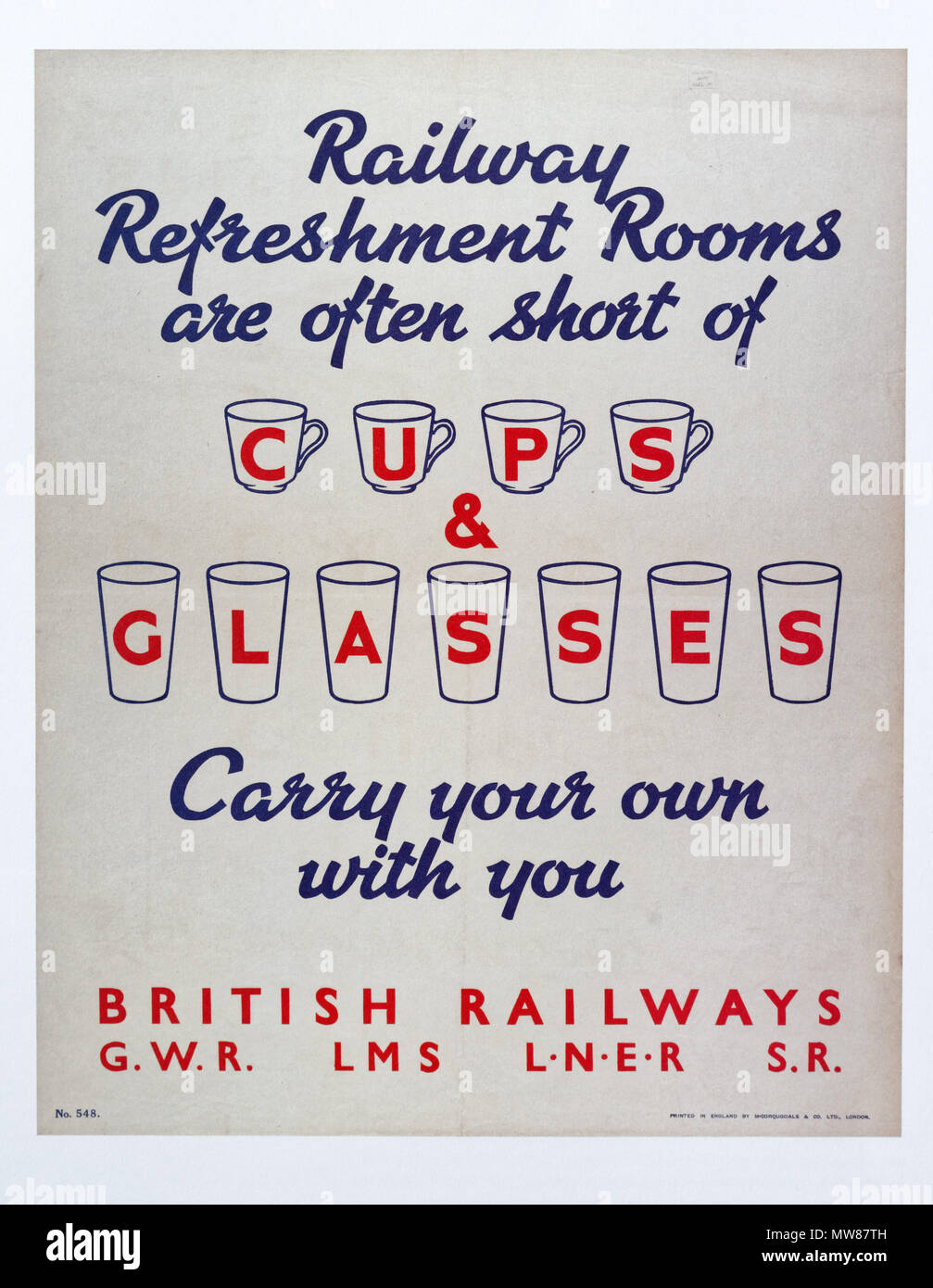 A poster from after the Second World War encouraging people to bring their own cups and glasses as the railway companies were short of supplies - Stock Image