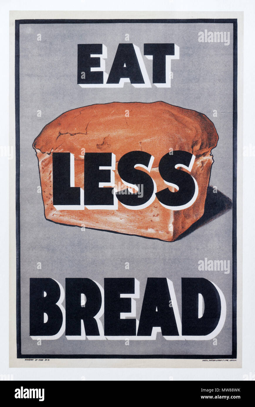 A British first world war poster ecouraging people not waste bread - Stock Image