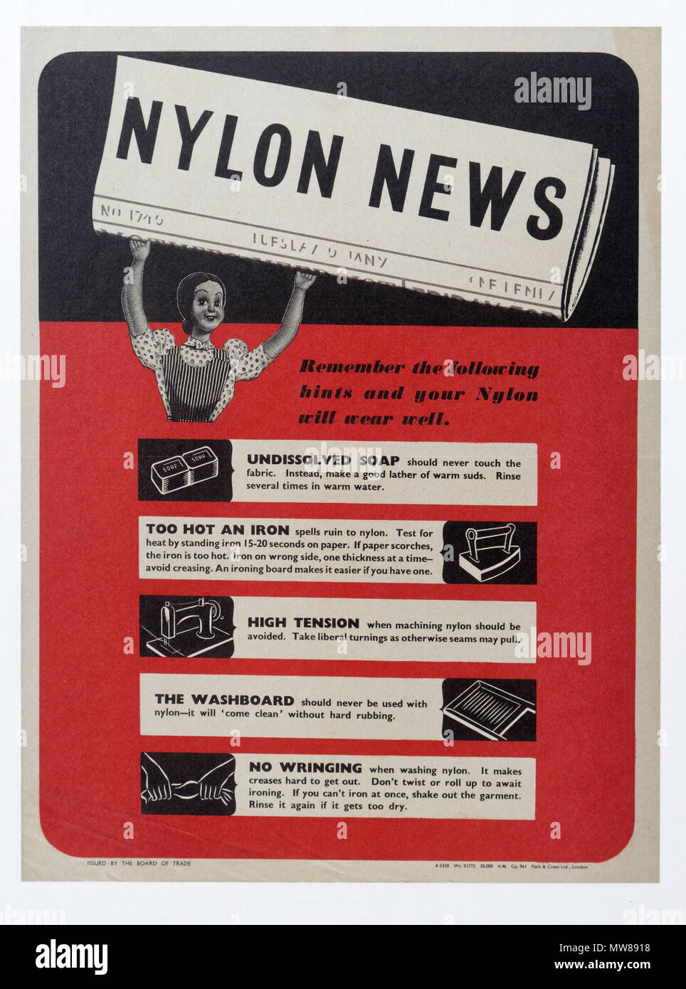 A Second World War poster showing women how to look after their nylons, as nylon was scarce petrol based product - Stock Image