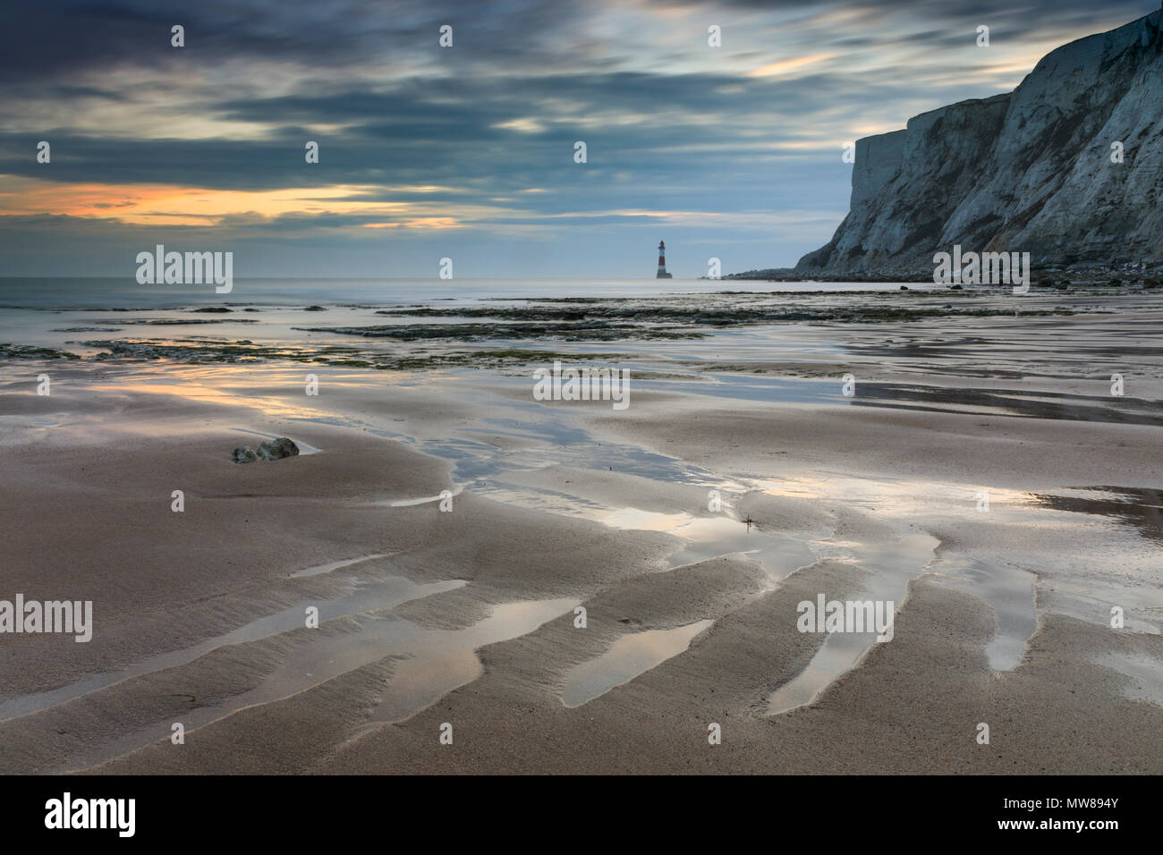 Falling Sands Beach with Beachy Head in the distance. - Stock Image
