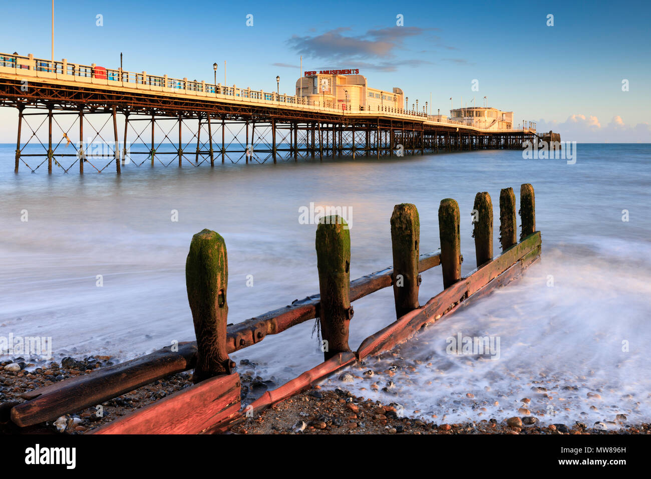 Worthing Pier in West Sussex - Stock Image