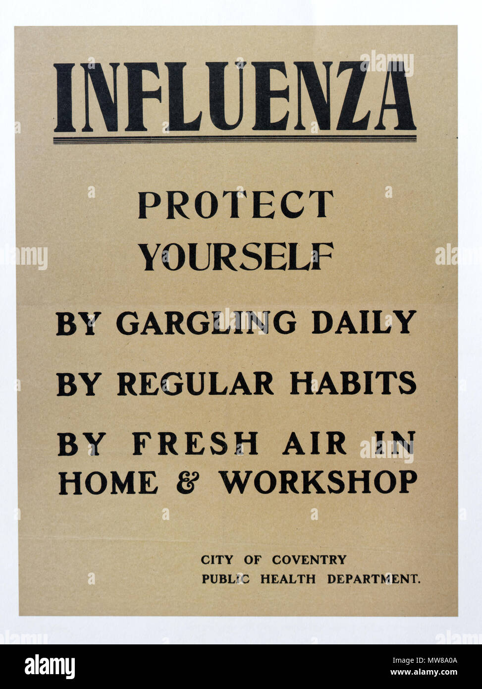 A wartime poster with advice on protection against influenza - Stock Image