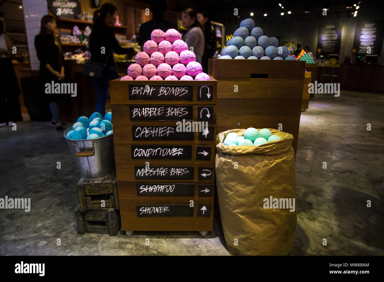 stand cosmetics shop handmade bombs and bubble bath different colors ...