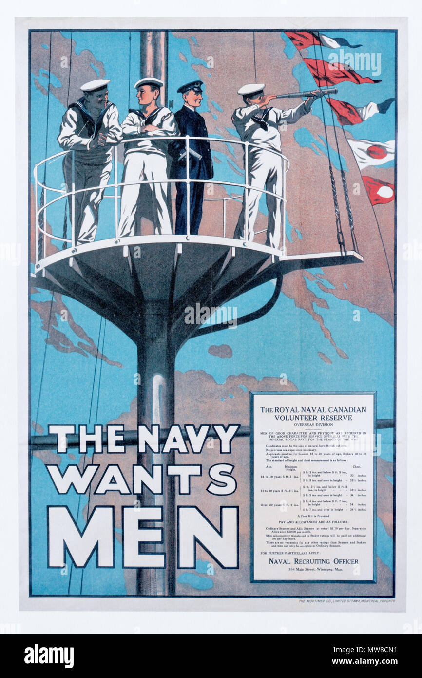 A British first world war poster calling for volunteers for the Royal Naval Canadian Volunteer Reserve - Stock Image