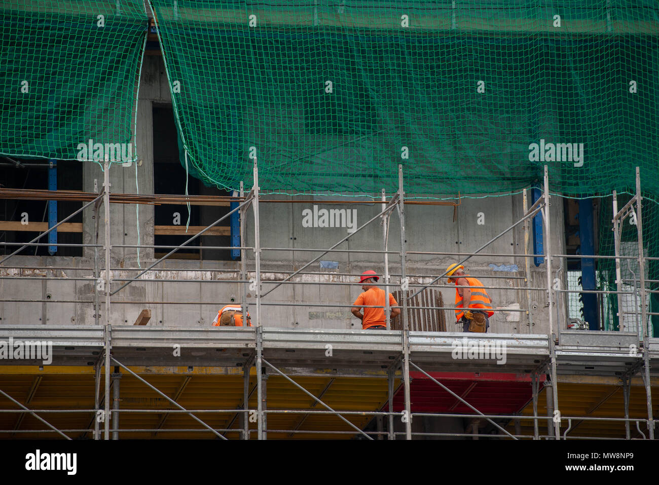 Milan Italy May 30th 2018: construction of the new futuristic district, three towers - Stock Image