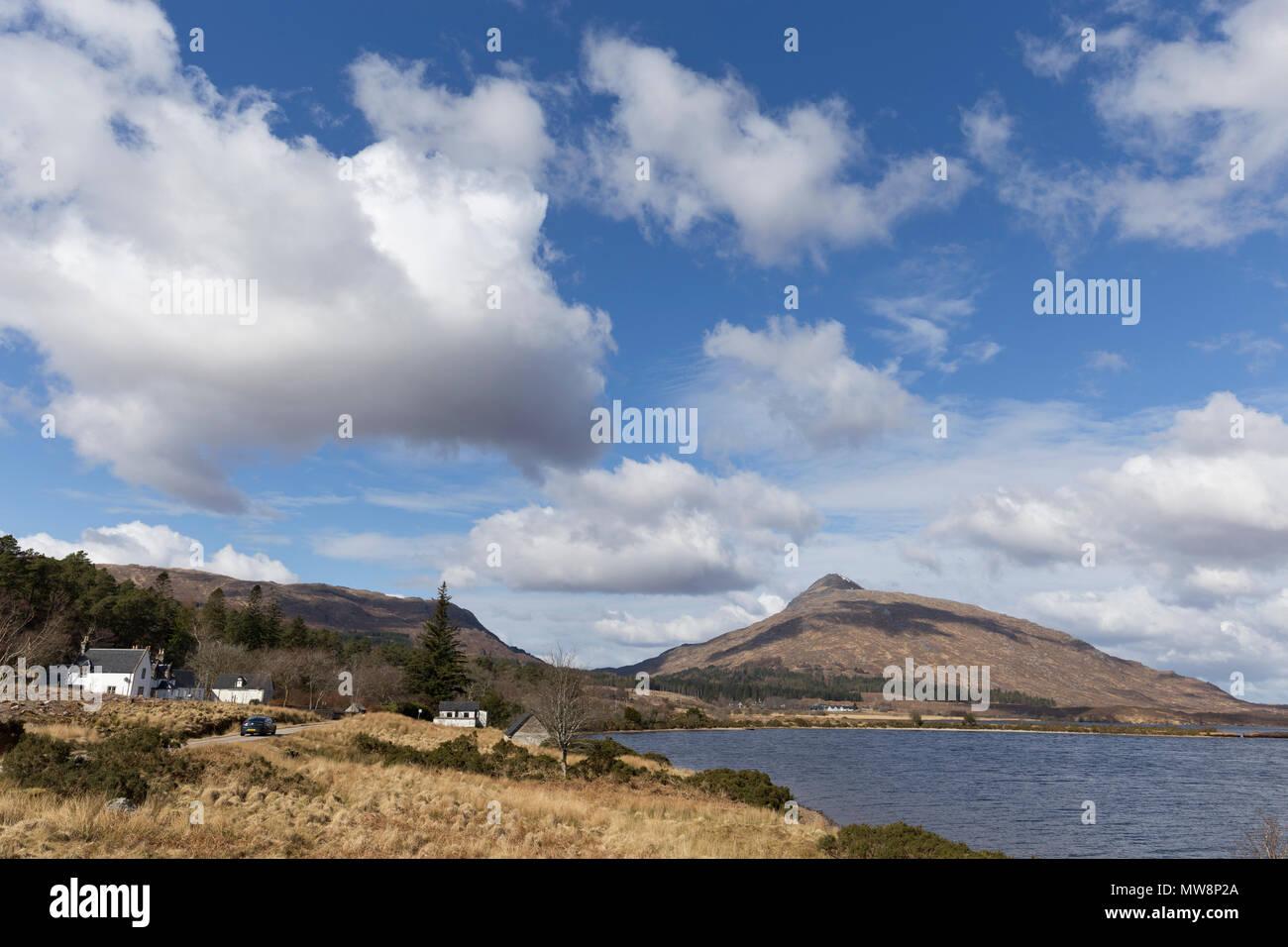 Hamlet of Achfary next to Loch More, Sutherland - Stock Image