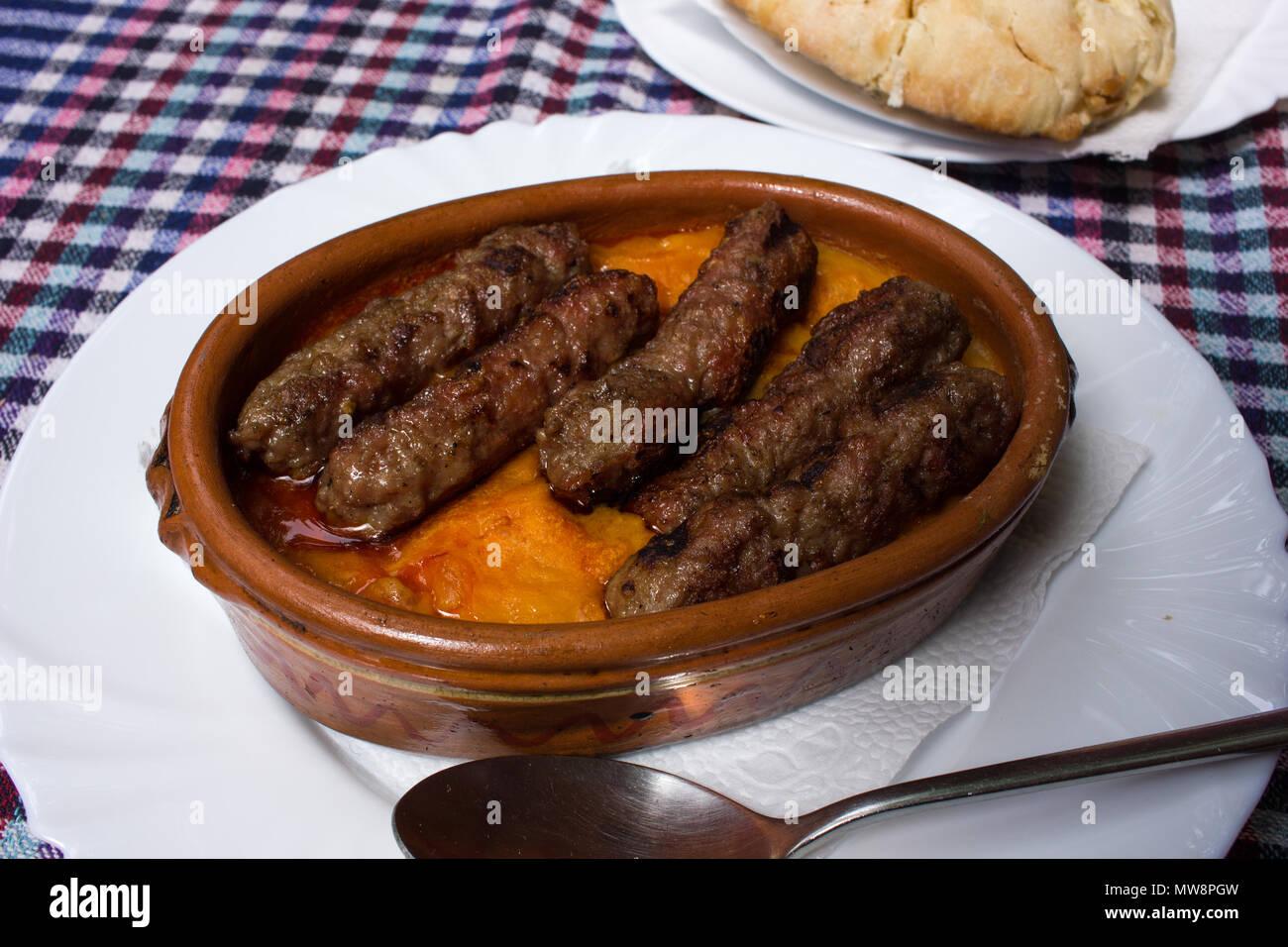 Kebab and beans, Skopje - Stock Image