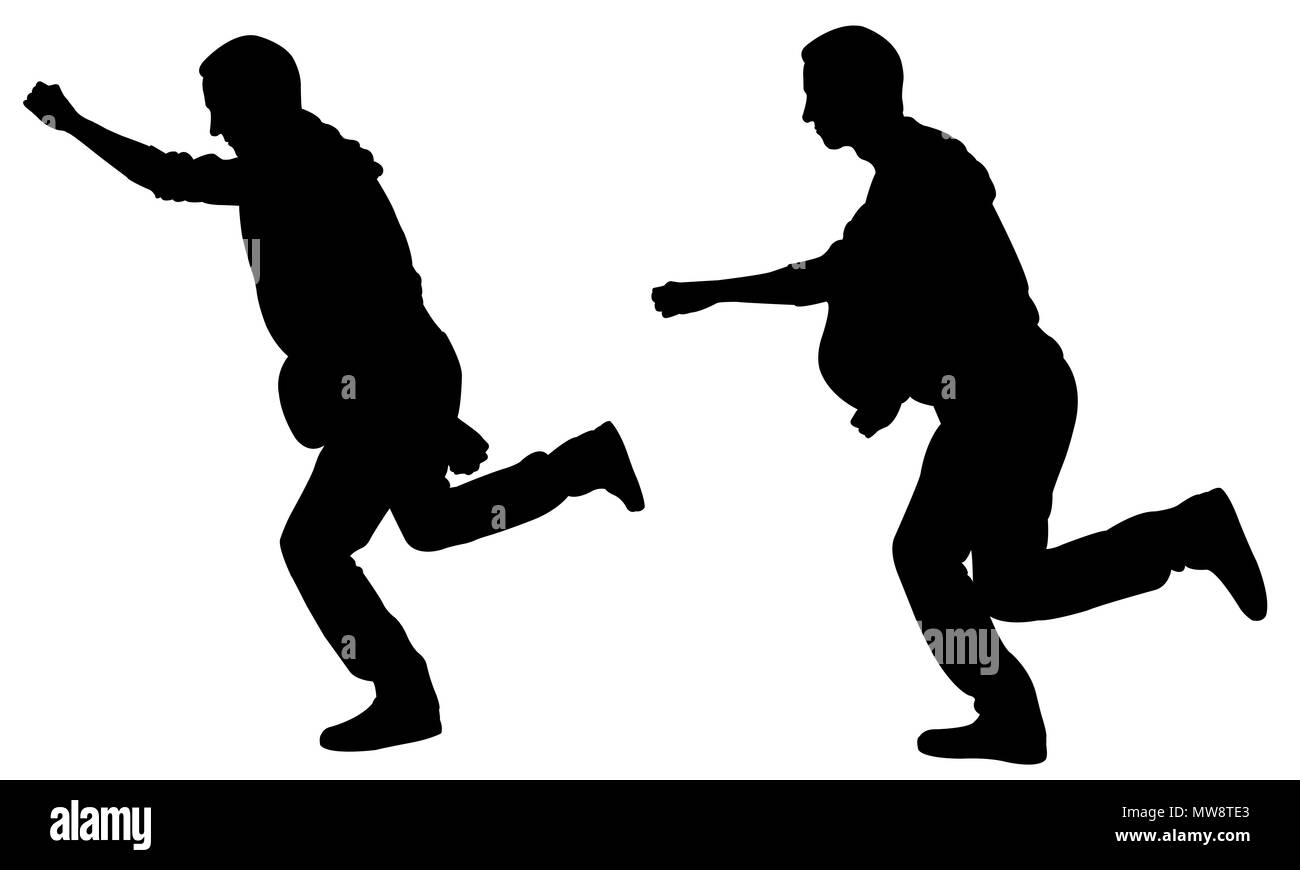 Silhouettes of people running isolated on white - Stock Image