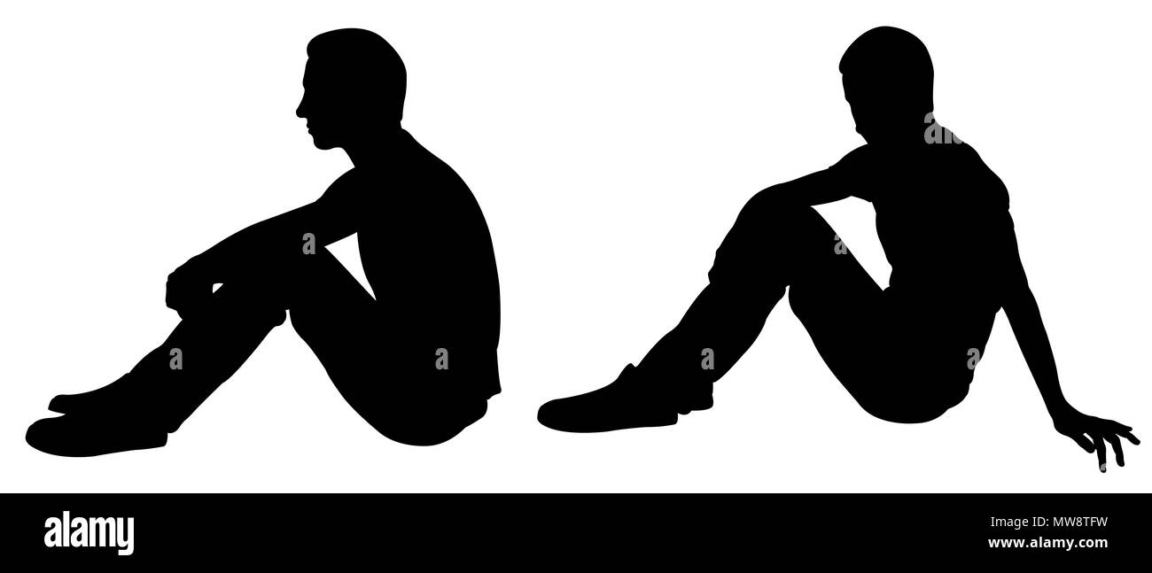 Silhouettes of people sitting pose isolated on white - Stock Image