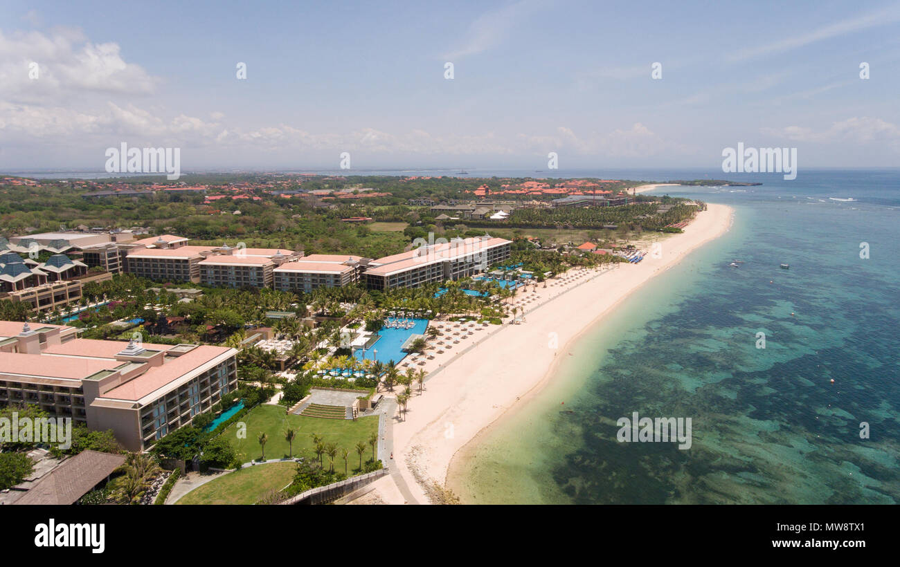 Aerial View Of Beautiful Beach Hotels And Tourists Pura