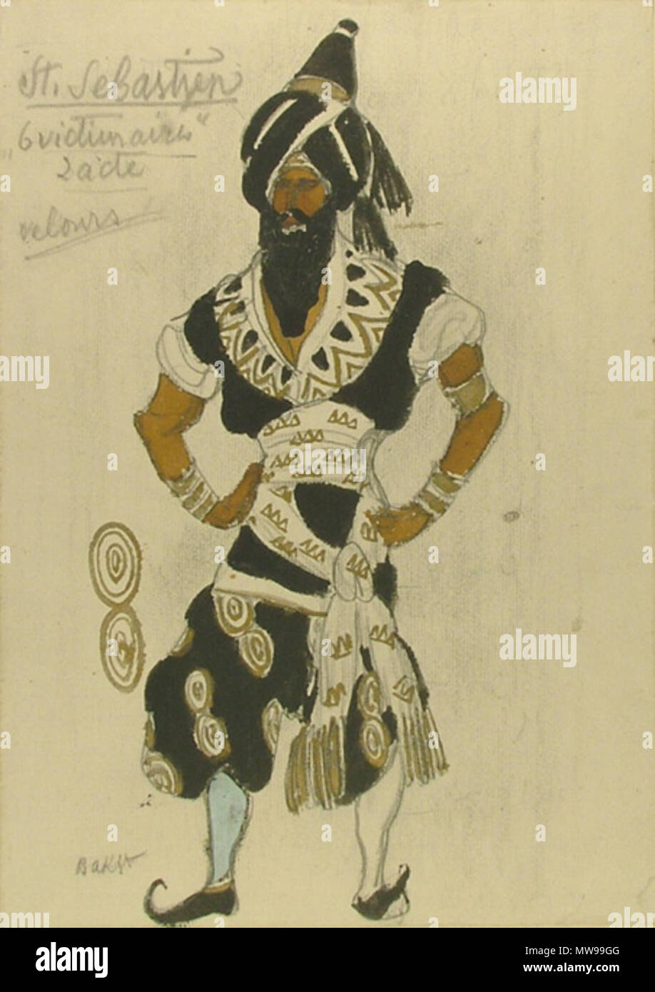 . Design for a Costume in 'St Sebastien' Salmina-Haskell (1989) 7. Graphite, watercolour and gold paint over graphite on off-white laid paper. Sheet: 314 x 223 mm. Signed in graphite lower left: Bakst; Inscribed in graphite upper left: St. Sebastien / '6 victimaires' / 2 acte / velours The Ashmolean Museum, Oxford. Bequeathed by Mikhail Vasil'evich Braikevitch, 1949; WA1949.379.2. 20th century. Bakst 400 Marthyre de S. Sebastien by L. Bakst 14 - Stock Image
