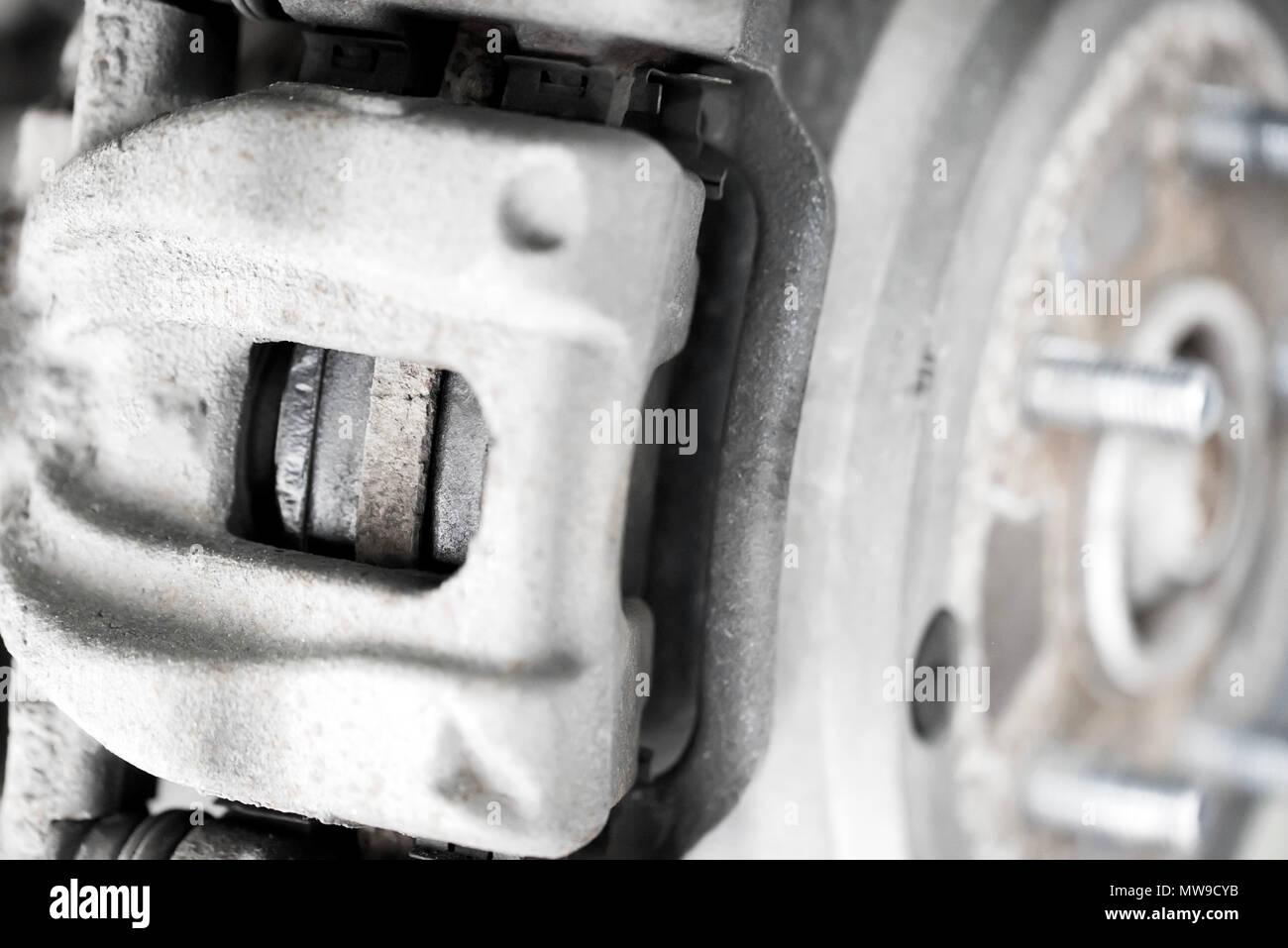 Car caliper and wheel hub close - Stock Image