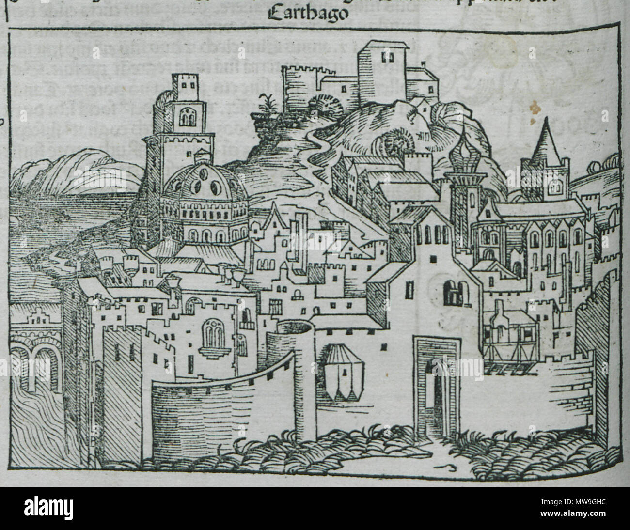 . English: Hartmann Schedell. Liber Cronicarum, Nürnberg, Anton Koberg/Schreyer & Sebastian Kammermeister, 1493. 1493. Hartmann Schedel 116 Carthago - Schedell Hartmann - 1494 - Stock Image