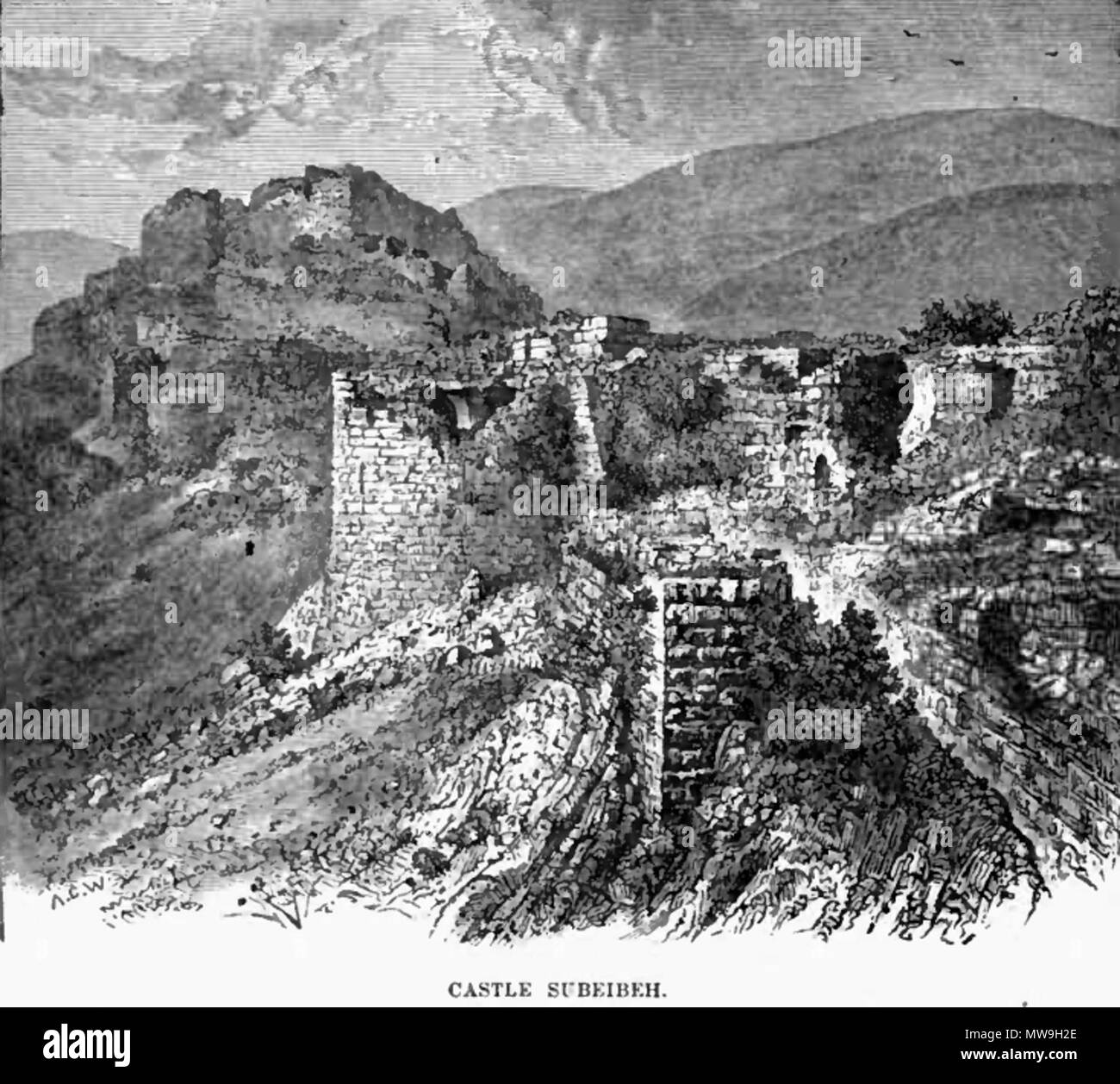 . English: Nimrod Fortress. al-Subayba. Qala'at Namrud . 1887. Frank S De Hass, 117 Castle subeibeh 1887 - Stock Image