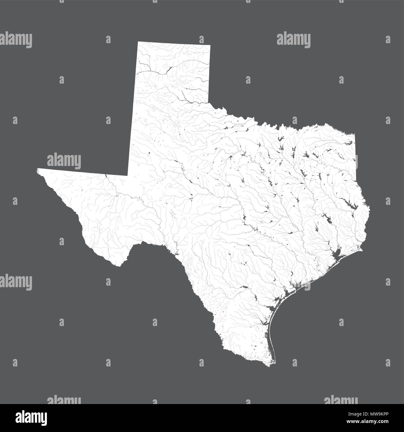 U.S. states - map of Texas. Hand made. Rivers and lakes are shown. Please look at my other images of cartographic series - they are all very detailed  - Stock Vector