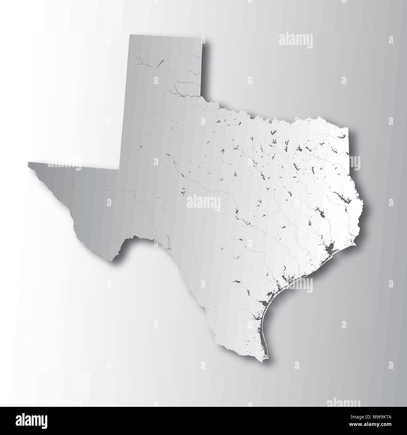 U.S. states - map of Texas with paper cut effect. Hand made. Rivers and lakes are shown. Please look at my other images of cartographic series - they  - Stock Vector