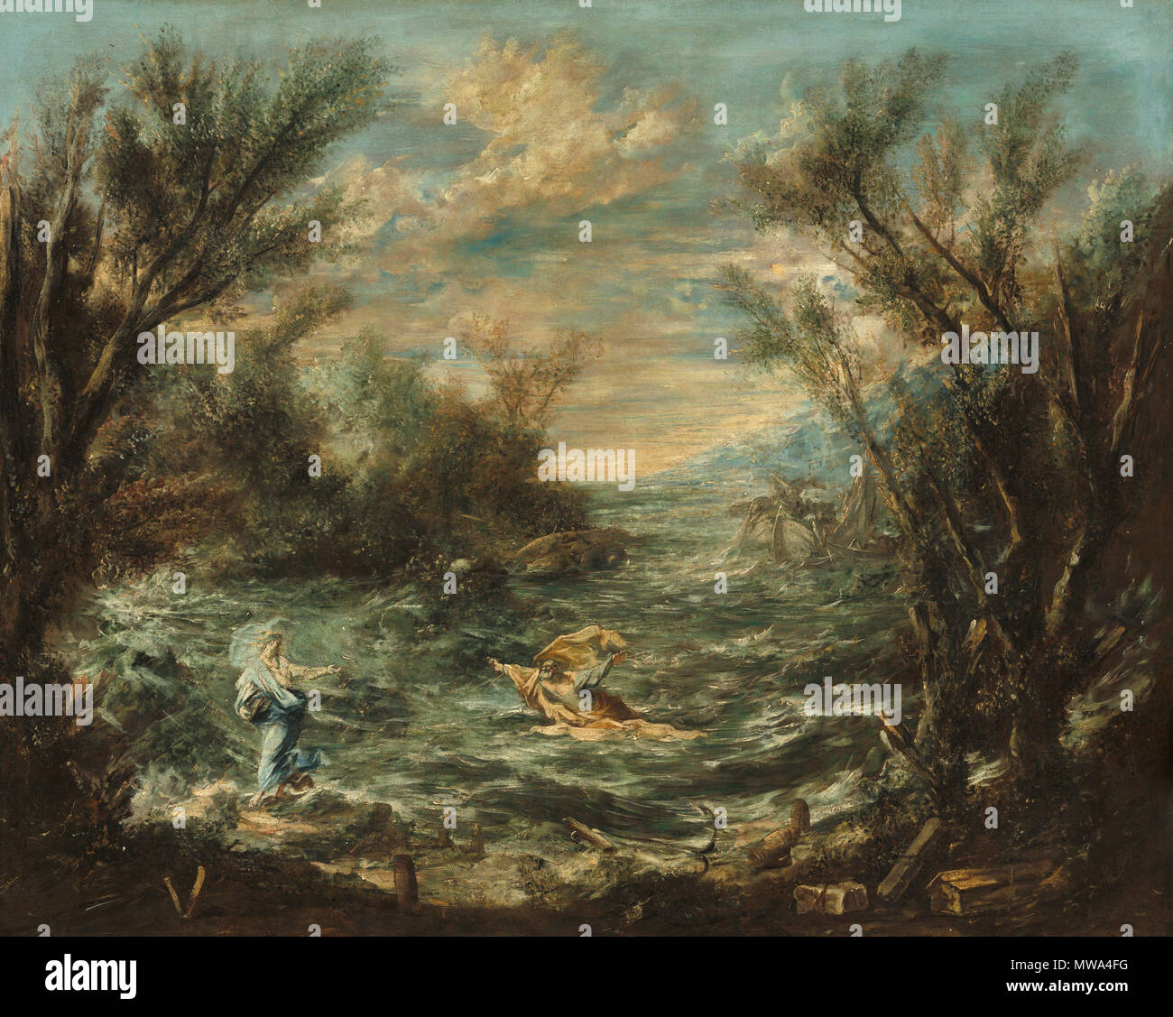 . Christ at the Sea of Galilee  . circa 1740  128 Christ at the Sea of Galilee - Stock Image