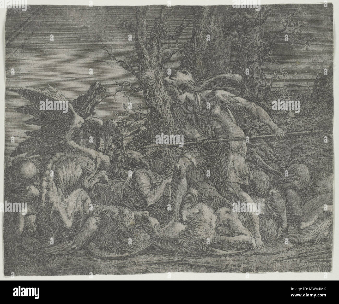 . English: Metropolitan Museum of Art Working Title/Artist: Cadmus Fighting the Dragon Who Had Killed His Men Department: Drawings & Prints Culture/Period/Location: HB/TOA Date Code: 08 Working Date: 1540-56 Digital Photo #: DP102821 . 21 February 2003, 14:21:33 (orig 1540s). Léon Davent - French printmaker in the mid 16th century 154 Davent Met - Stock Image