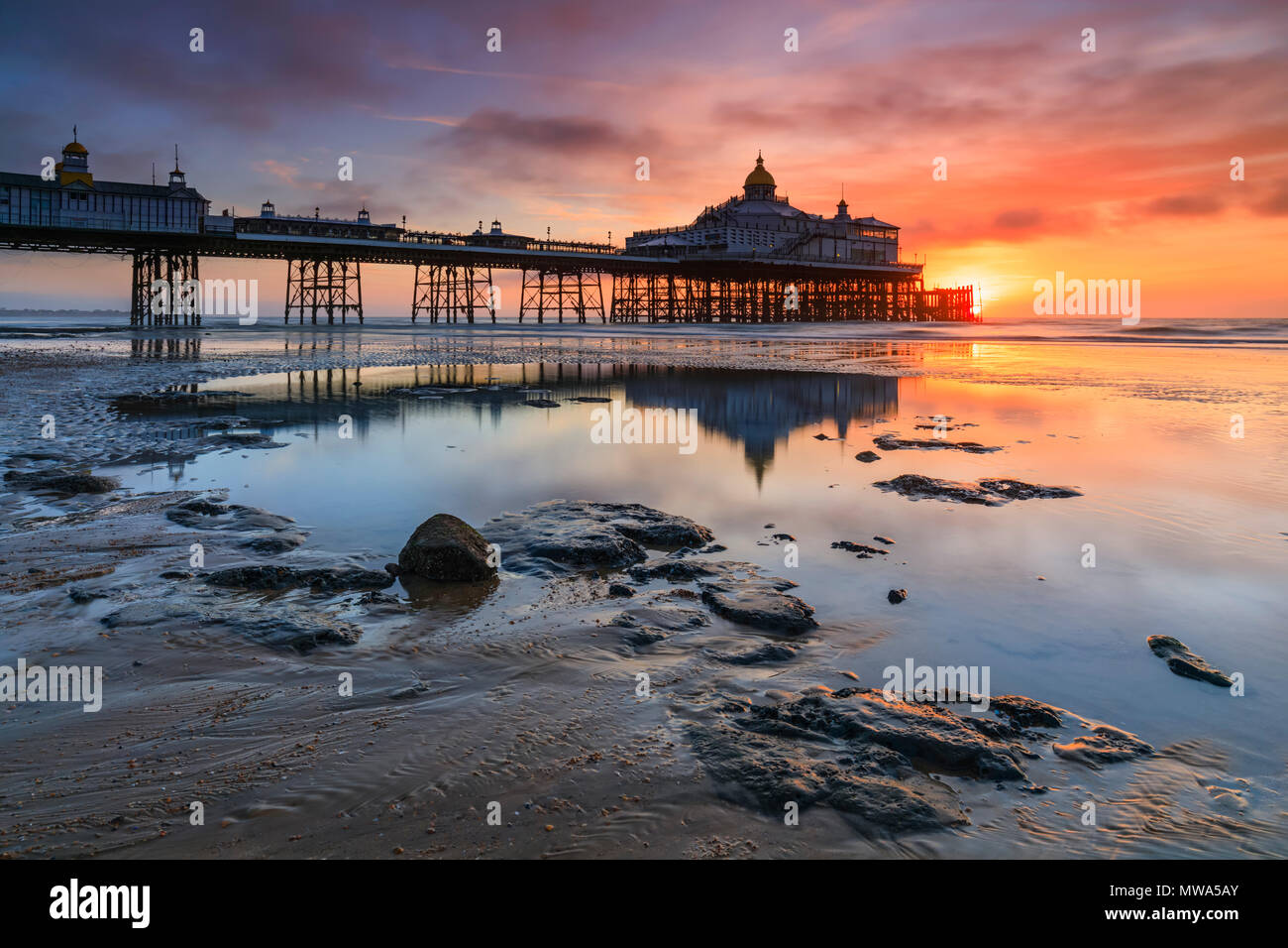 Eastbourne Pier in East Sussex captured at sunrise Stock Photo