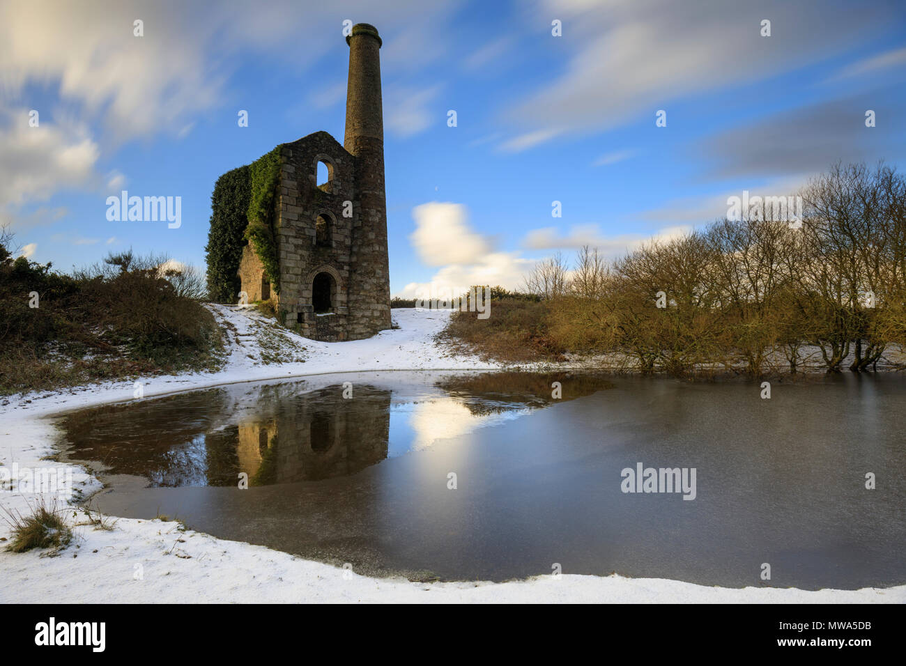 United Downs Engine House captured after a snow fall. - Stock Image