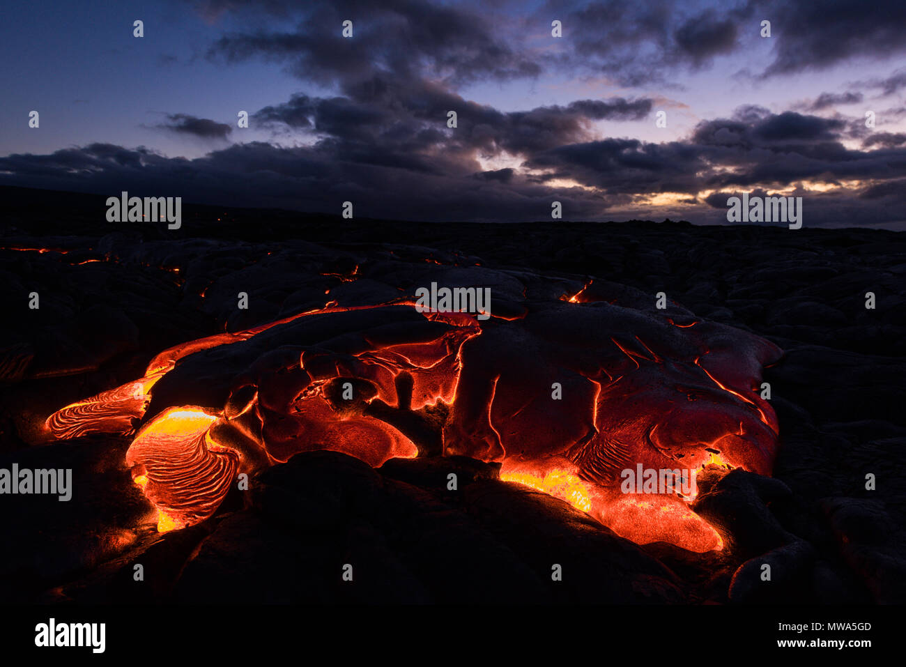 Molten lava from Kilauea volcano eruption flows openly in Volcanoes National Park in Hawaii in 2016. - Stock Image