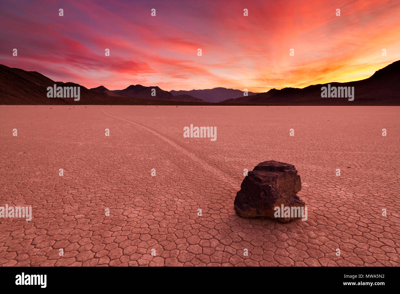 The moving rocks of the Racetrack in Death Valley National Park, California, USA during sunset. - Stock Image