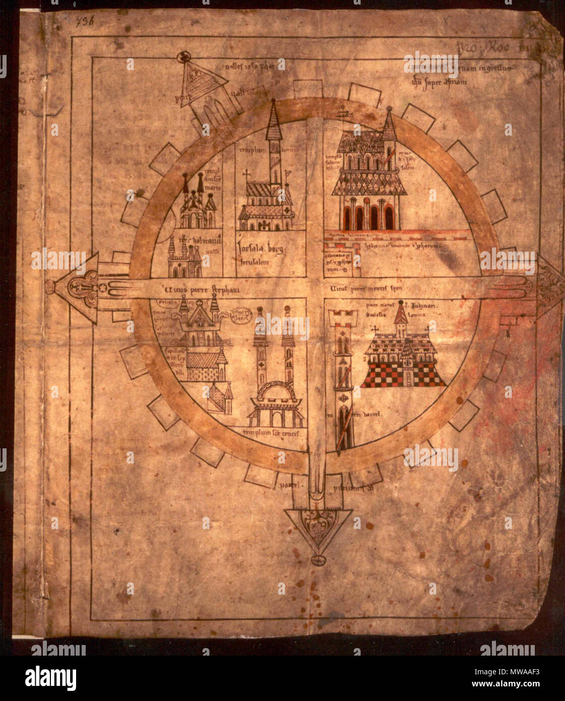 . English: the 'Copenhagen' of crusader Jerusalem . 13th century. Unknown 142 Copenhagen map - Stock Image