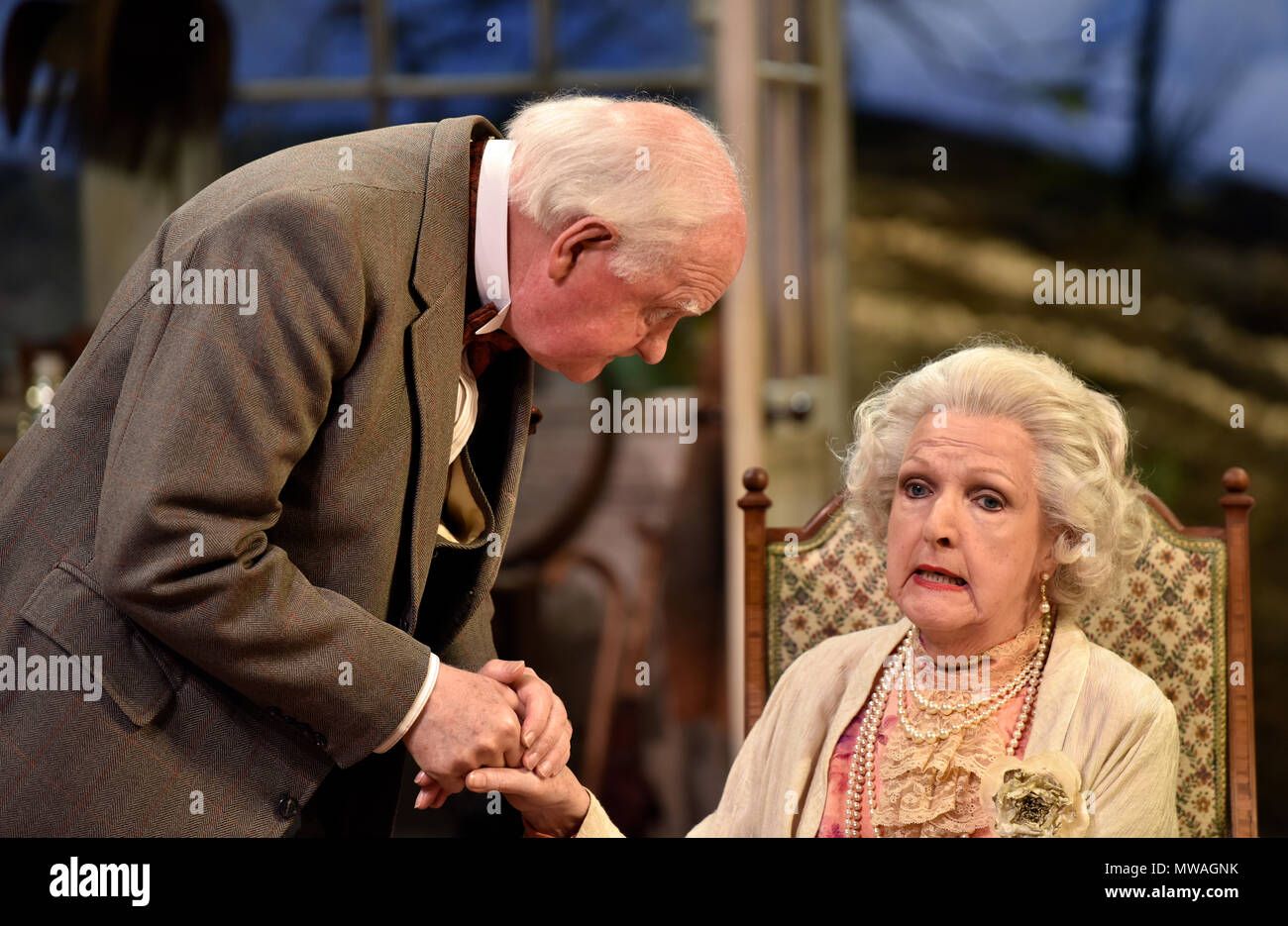 Penelope Keith (playing Mrs St Maugham)) and Oliver Ford Davies (playing the Judge) in Enid Bagnold's The Chalk Garden, Chichester Festival Theatre... - Stock Image