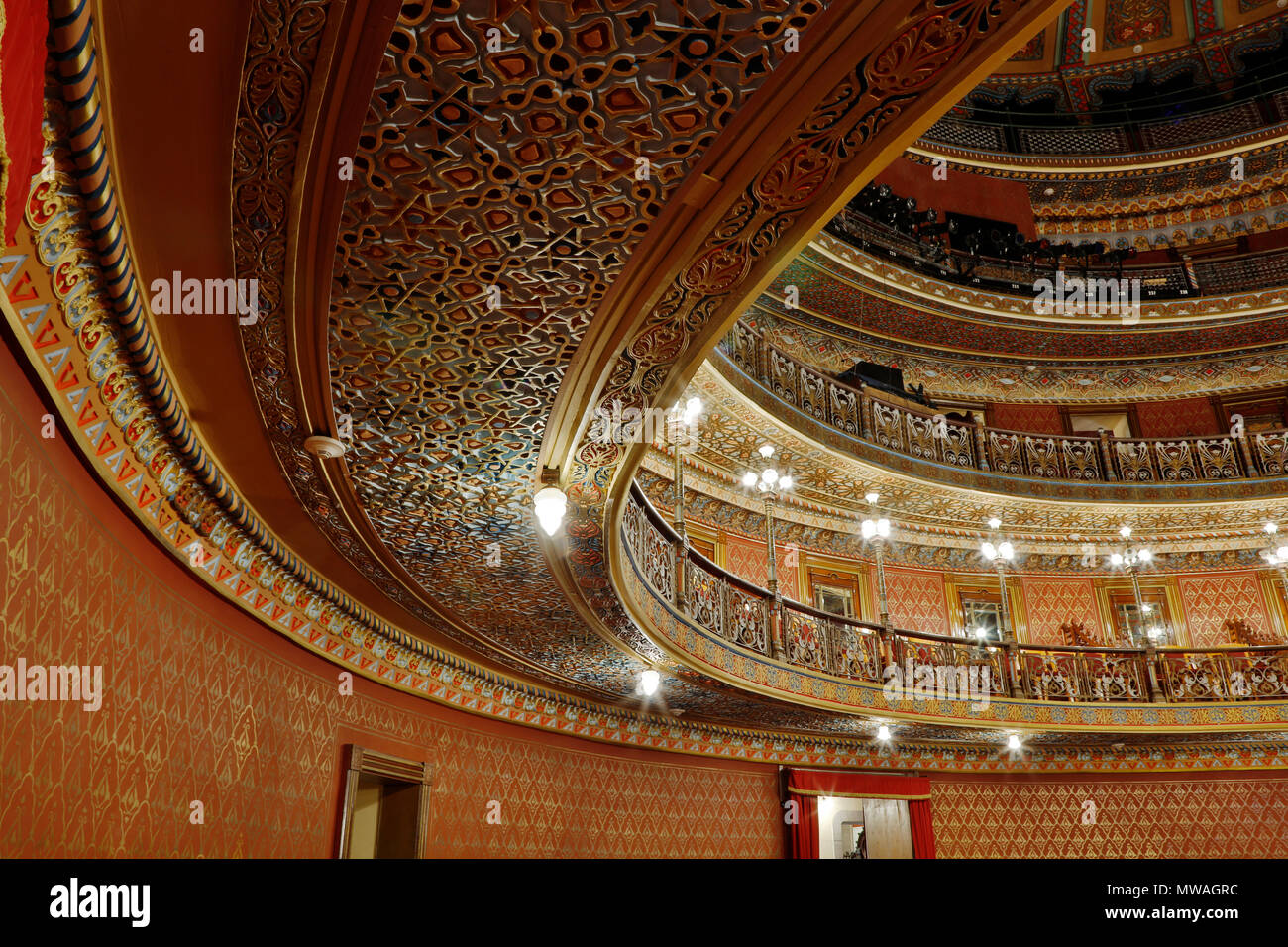Interior of the JUAREZ THEATER - GUANAJUATO, MEXICO Stock Photo