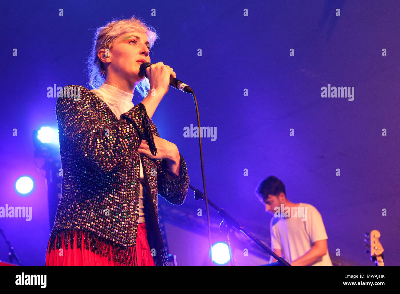 Blythe Pepino live onstage with Vaults in 2016. Vaults performed a cover of One Day I'll Fly Away for the John Lewis Christmas advertisement and released one album, Caught in Still Life, in 2016 before splitting in May 2017. Blythe Pepino later went on to perform with Mesadorm. - Stock Image