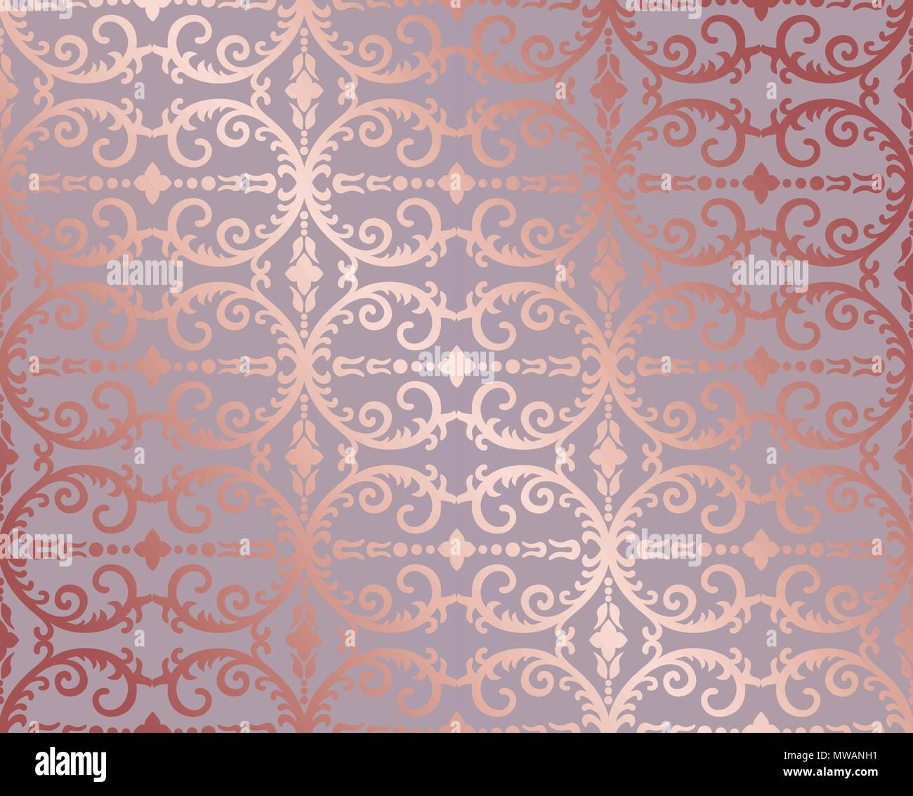 Seamless Rose Gold Floral And Foliage Wallpaper Pattern
