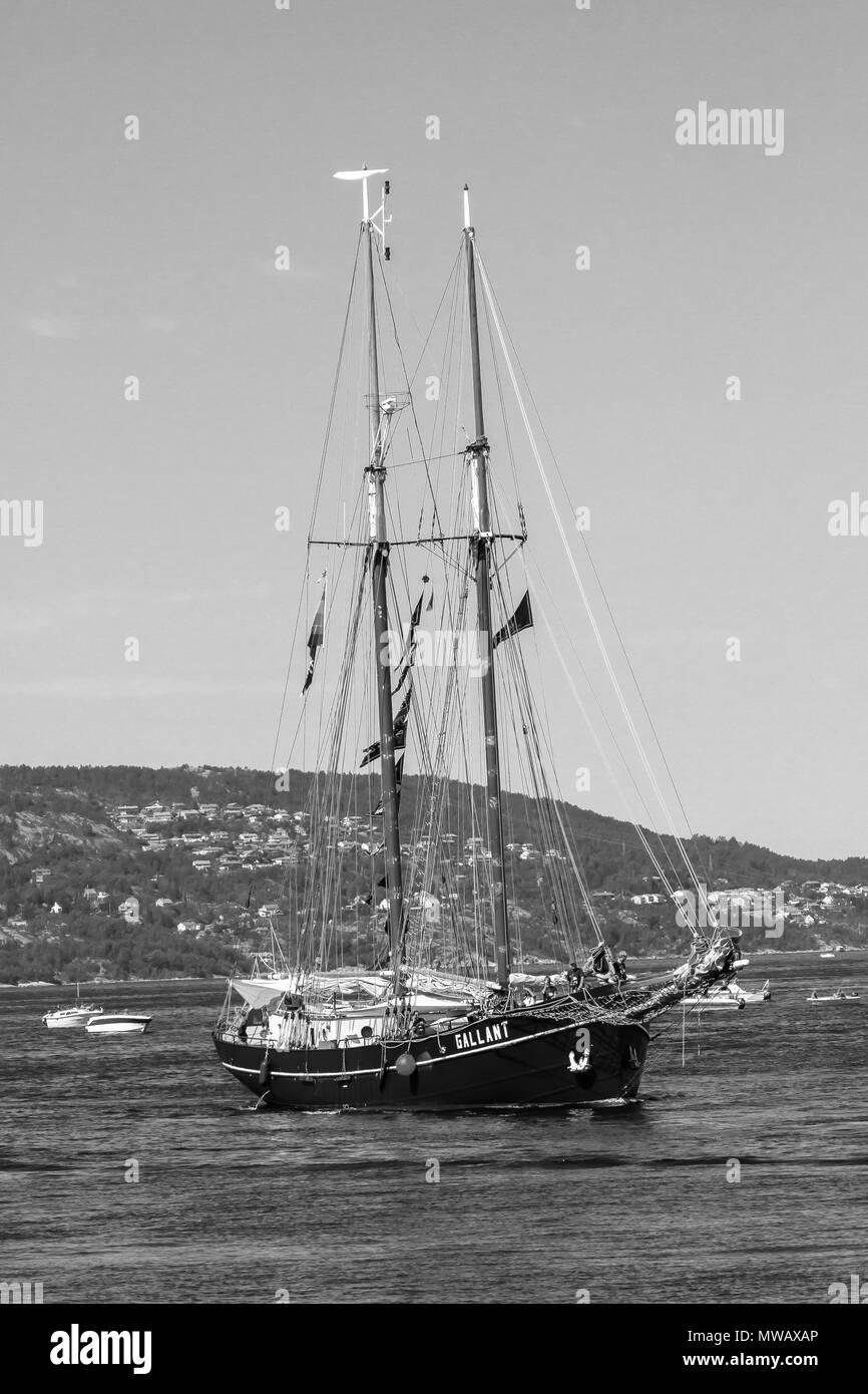 Tall Ships Race Bergen 2014.  The Dutch gaff schooner 'Gallant' entering the harbor of Bergen, Norway - Stock Image