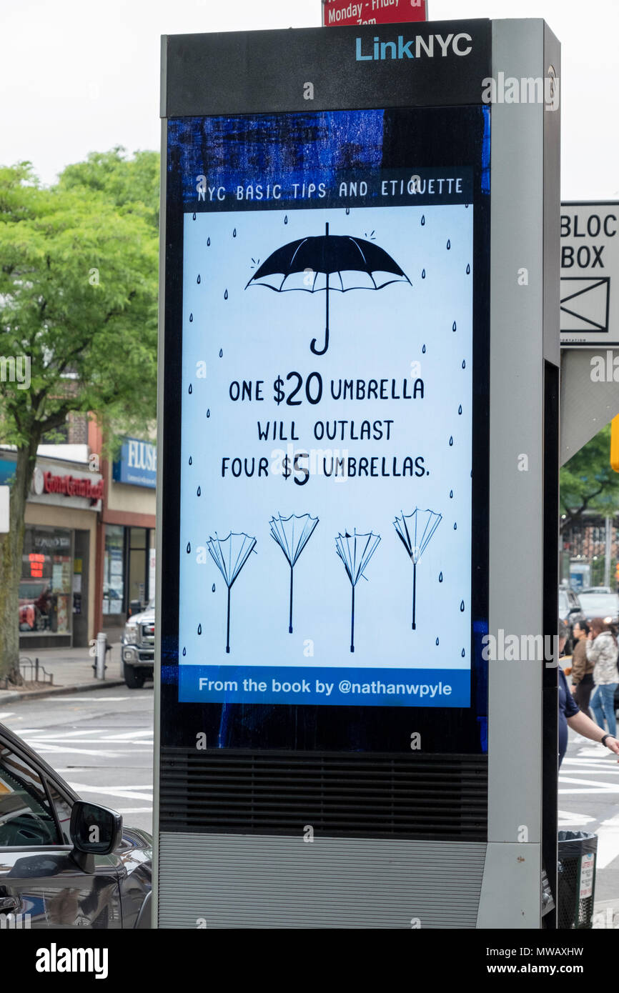 A LINKNYC terminal in Forest Hills, Queens which provides free phone calls, WIFI service, public service announcements & amusing messsages - Stock Image