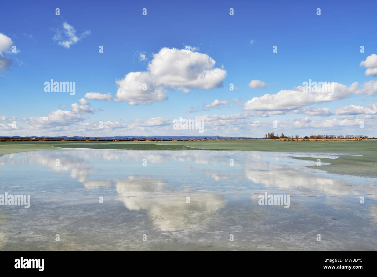Cloud atmosphere over the half-frozen lake Warmsee, Illmitz, Burgenland, Austria - Stock Image