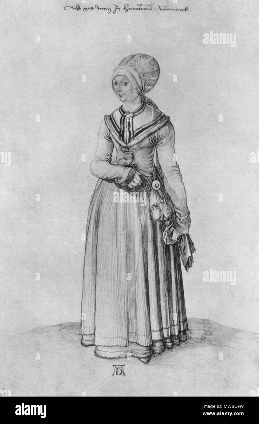 175 Dürer - Une fille de Nuremberg en vêtement d'intérieur Stock Photo
