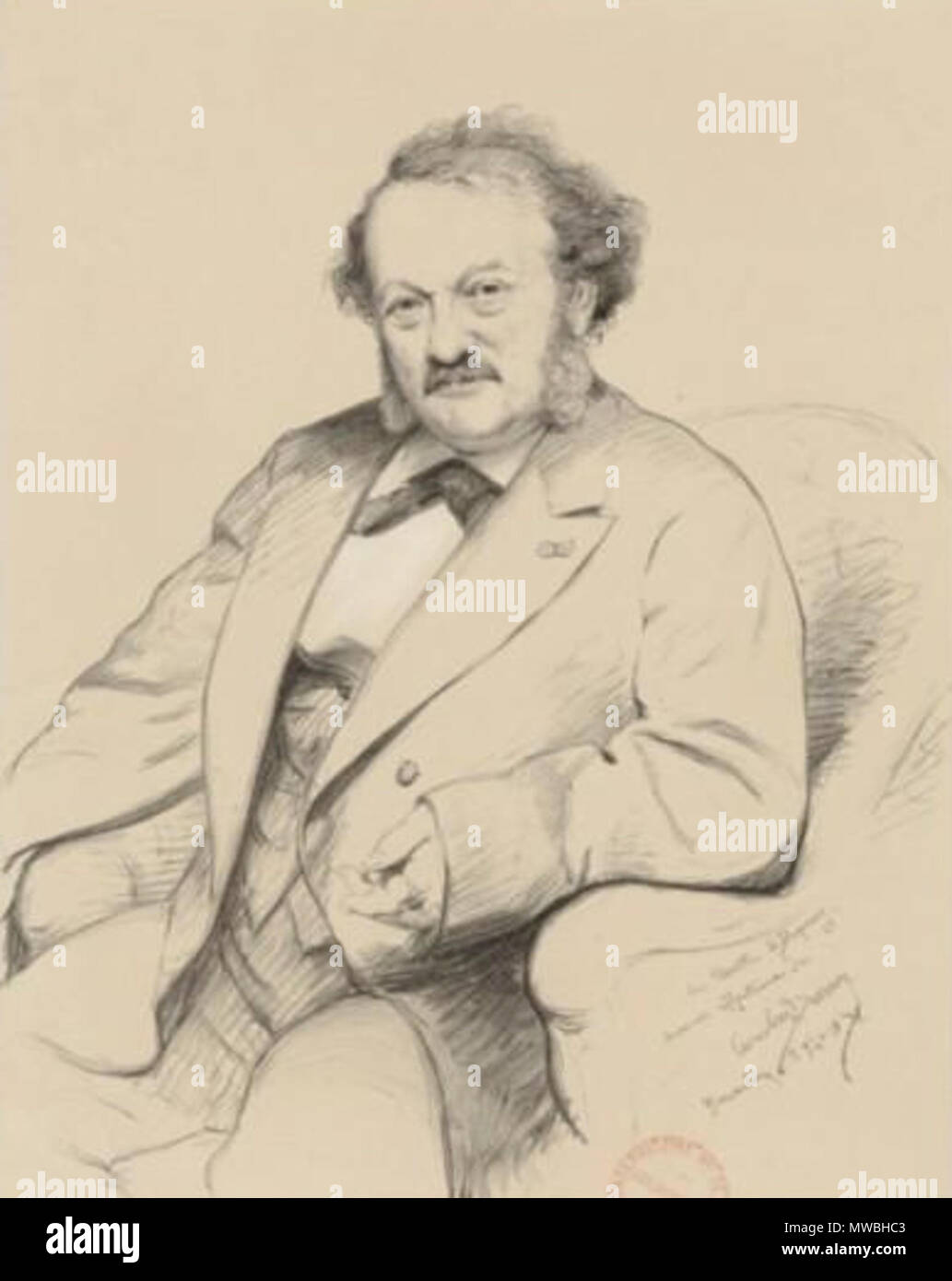 . English: French tenor Gilbert Duprez (1806-1898) by Alfred Lemoine (1824-1881) after a drawing by Carolus-Duran (1837-1917). 1871. Alfred Lemoine after Carolus-Duran 243 Gilbert Duprez par Carolus-Duran - Stock Image