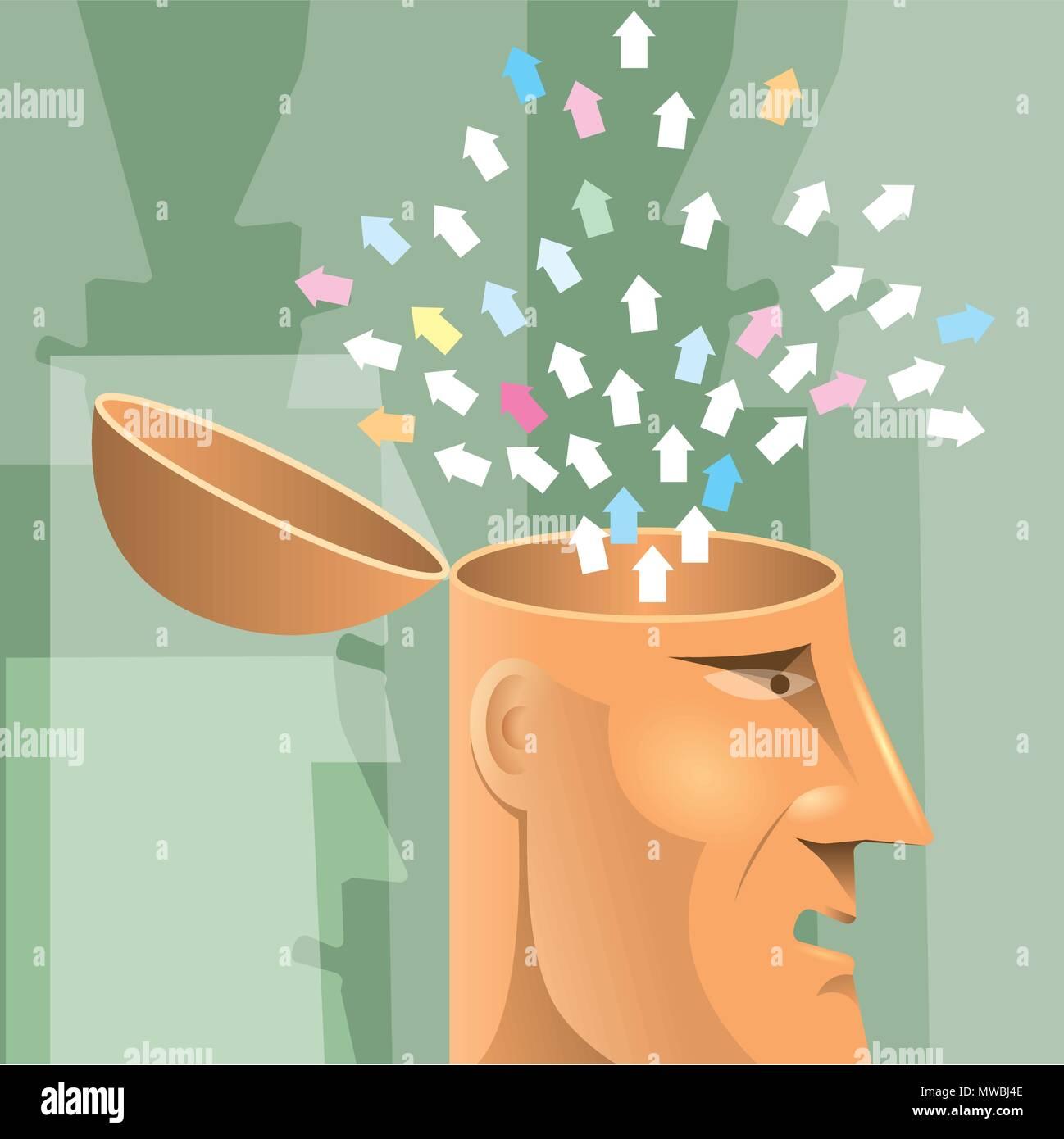 Artificial intelligence concept design, arrows in the brain. - Stock Vector
