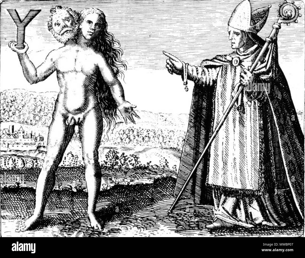 . English: An engraving from Michael Maier's Symbola Aureae Mensae (1617) we see Albertus Magnus pointing to an alchemical androgyne holding the letter Y. Zola (42) explains, 'The Y is, as Philo taught, the symbol of the Word which pierces the essence of being. The Nassine Gnostics taught that it represented the intimate nature of being, which is male and female and, as such, eternal.' . circa 1617. Michael Maier (1568–1622) 190 Engraving from Michael Maier's Symbola Aureae Mensae (1617) - Stock Image