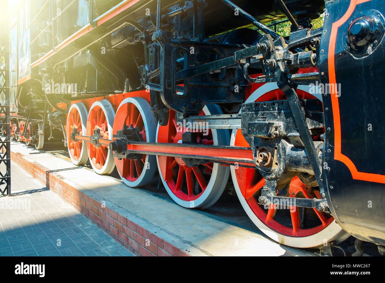 Old Soviet steam locomotive of the Second World War Stock Photo