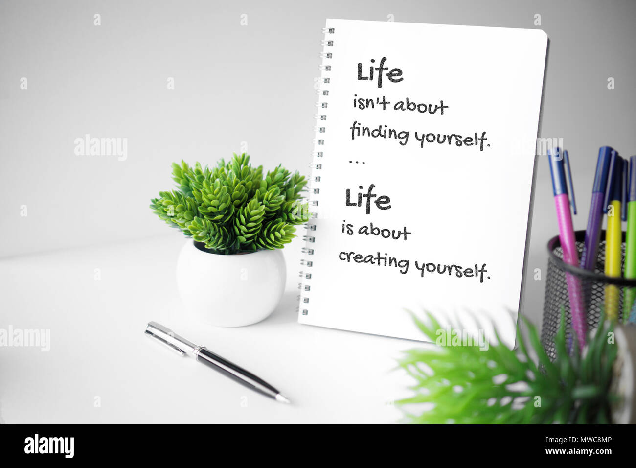 Motivational And Inspirational Quote Wisdom Quote About Life Notebook With Potted Plant Stock Photo Alamy