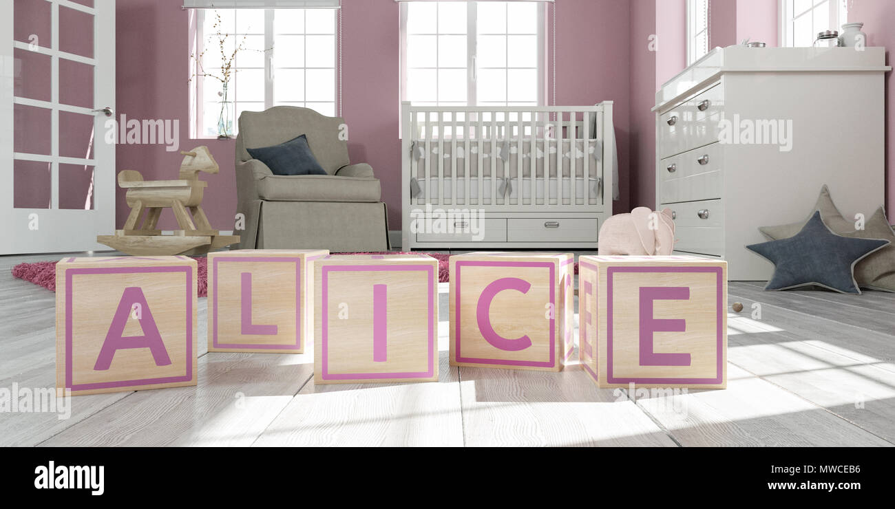The name alice written with wooden toy cubes in children's room Stock Photo
