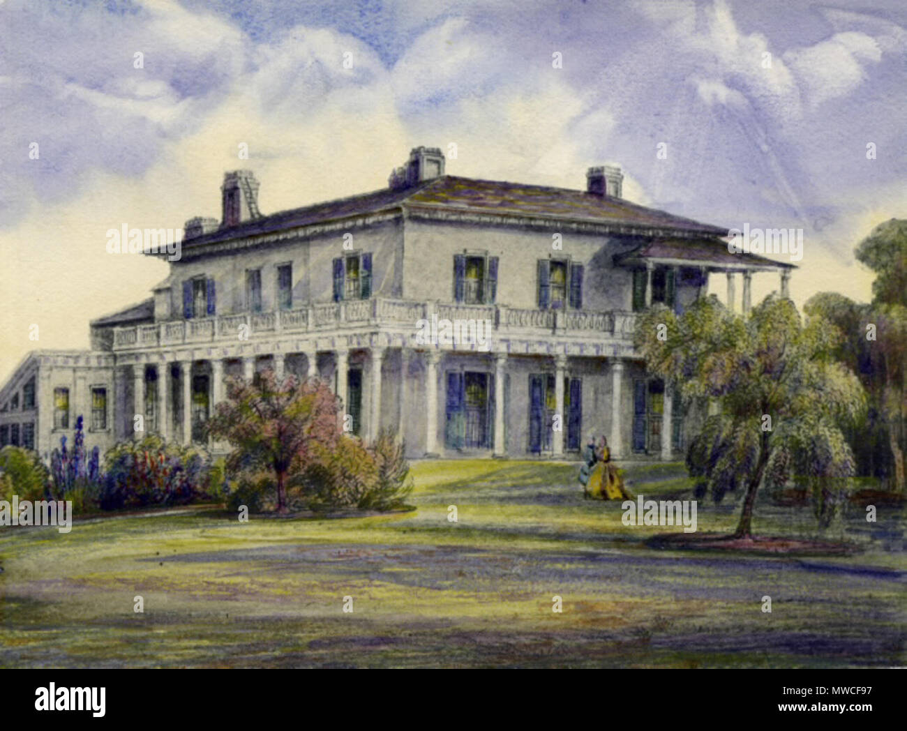 . English: Elmsley Villa, circa 1840, on the corner of Bay and Grosvenor Streets, Toronto. Built by The Hon. John Elmsley (1762-1805). At the time this painting was drawn, the house was lived in by the family of his son-in-law, The Hon. John Simcoe Macaulay (1791-1855), from 1835 to 1845. The house was afterwards occupied by the 8th Earl of Elgin, and frequently served as the residence to Governors of Upper Canada. Unknown date. Unknown 184 Elmsley Villa, Toronto Stock Photo