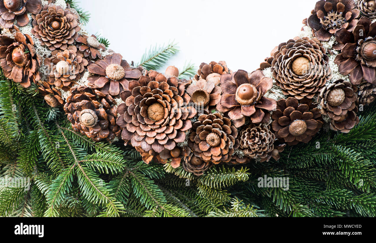 christmas homemade natural wreath on display in colonial williamsburg closeup of detail stock