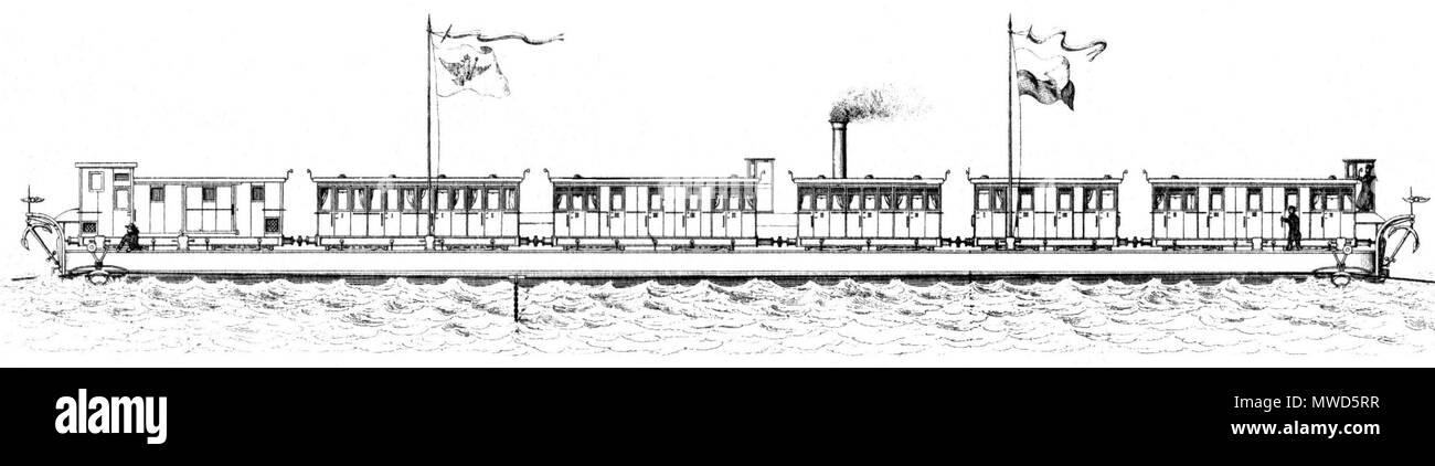 . Deutsch: Mit Personenwagen beladene Ponte der Rheinischen Eisenbahn auf der Fahrt über den Rhein um 1865 . 1870. This file is lacking author information. 201 Fahrende Ponte - Stock Image